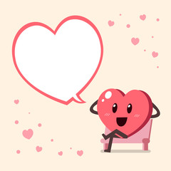 Cartoon big heart character with speech bubble