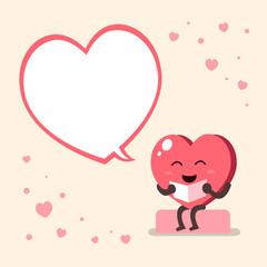 Vector cartoon heart character with speech bubble