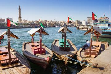 Fototapeta Traditional Abra ferries at the creek in Dubai, United Arab Emirates obraz