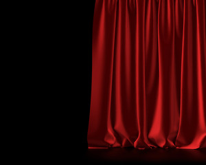 Red theatre entertainment event curtain. 3D Rendering