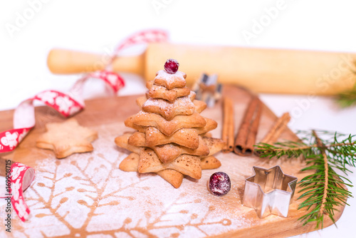 Homemade Gingerbread Star Shaped Cookies Christmas Trees Decorated