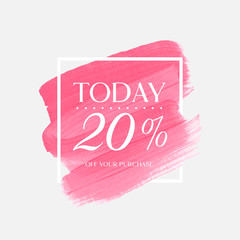 Sale today 20% off sign over watercolor art brush stroke paint abstract background vector illustration. Perfect acrylic design for a shop and sale banners.