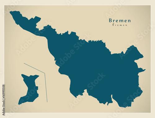 Modern Map Bremen city of Germany DE Stock image and royaltyfree