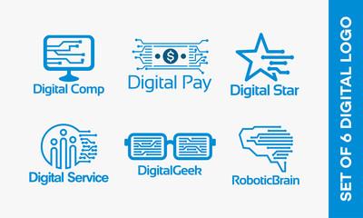 Set of Digital Computer logo, Digital Pay logo, Digital Star logo, Digital Service logo, Digital Geek logo, Robotic Brain logo vector illustration, Technology and Digital Edition