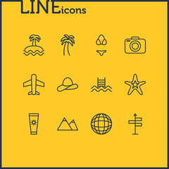 Vector Illustration Of 12 Season Icons. Editable Pack Of Palm, Airplane, Fish And Other Elements.