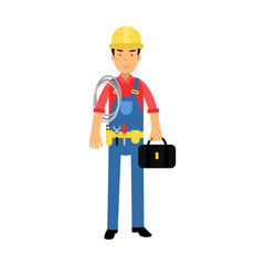Male construction worker character standing with toolbox and roll of rope cartoon vector Illustration