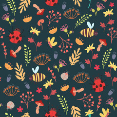 Cute forest seamless pattern