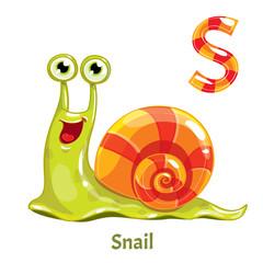 Vector alphabet letter S. Snail