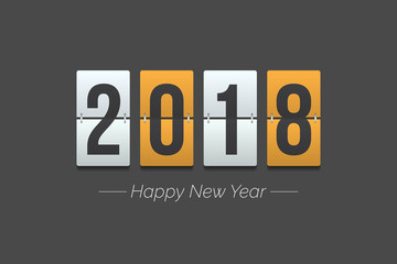 2018 New year Vector graphic illustration in yellow color