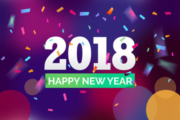 Happy 2018 new year with triangle. Vector paper illustration