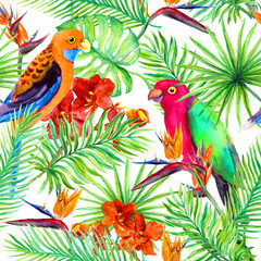 Parrots, tropical leaves, exotic flowers - bird flower, orchid. Repeating background. Watercolor