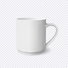 Realistic white coffee cup isolated on transparent background