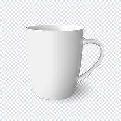 Realistic white mug isolated on transparent background