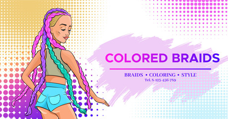 Hair salon banner with pop art style girl with colored boxer braids trendy hairstyle wearing jeans shorts, hairdresser flyer, fashion modern woman, beauty studio poster vector illustration