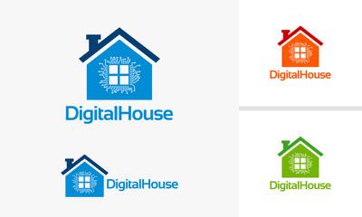 Digital House Logo template with processor symbol vector illustration