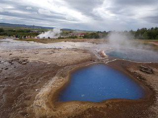 Geysir geothermal area in the Haukadalur valley in southwest Iceland