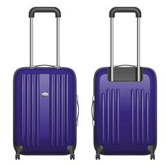 Векторный фиолетовый пластиковый чемодан на колесиках с выдвижной ручкой, вид спереди и вид сзади, на белом фоне