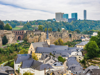 View of Grund district in Luxembourg City, Luxembourg