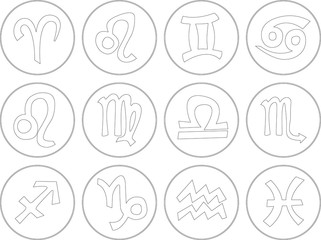 Icon set of all zodiac signs in white color.