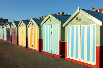 Coulorful Beach Huts in Seaside Town