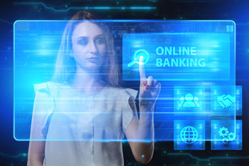 The concept of business, technology, the Internet and the network. A young entrepreneur working on a virtual screen of the future and sees the inscription: Online banking
