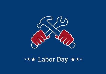 Labor Day vector. Hands with tools. Important day