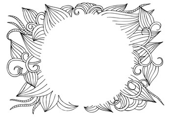 Vector floral frame in black and white. Can use for coloring and as design element for decoration