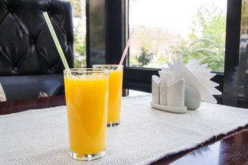 Two glasses of orange juice. Healthy drink concept.