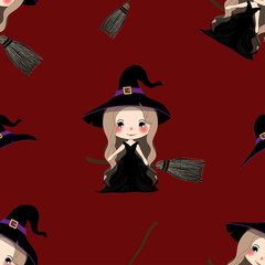 Halloween Background - Witch Girl on Bloom. Vector Illustration