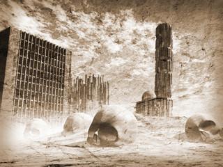 Apocalypse city, Old texture, 3D render