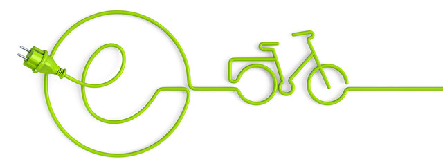 Green e-power plug bent in a bicycle shape