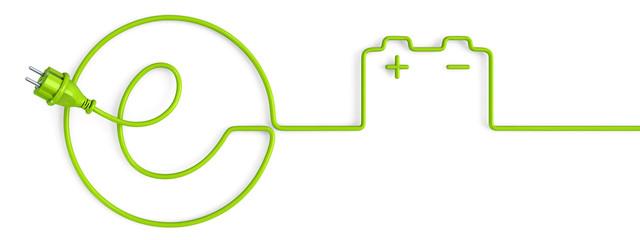 Green e-power plug bent in a car battery shape