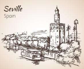 Sketch of spain city Seville. Torre del Oro
