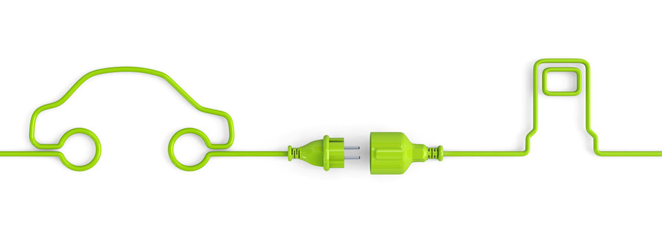 Green power plug connection cable between car and service station shape - open