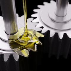Pouring Lube on Gearwheels 3d Illustration