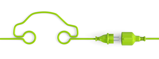 Green power plug connection cable in a car shape - open
