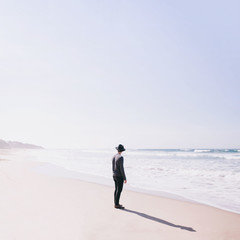 Young man exploring the beach in Australia