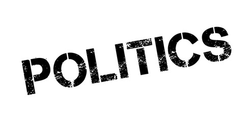 Politics rubber stamp. Grunge design with dust scratches. Effects can be easily removed for a clean, crisp look. Color is easily changed.