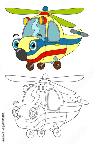 """""""cartoon ambulance helicopter isolated coloring page ..."""