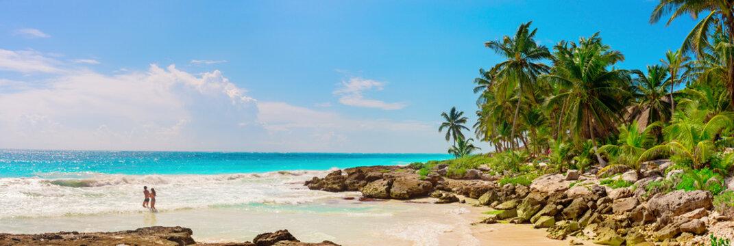 Tropical Sandy Beach on Caribbean Sea. Mexico.