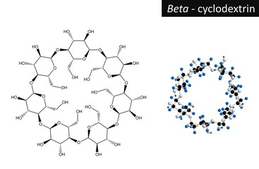 Molecular structure of beta cyclodextrin, 3d rendering