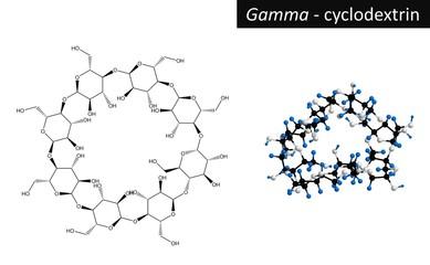 Molecular structure of gamma cyclodextrin, 3d rendering