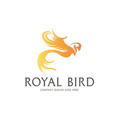 Royal Bird Logo. Fenix logotype.  Easy to change color, size and text.