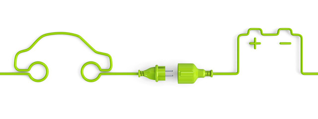 Green power plug connection cable between car and car battery shape - open