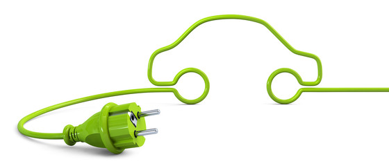 Green power plug lying on the floor and bent in a car shape