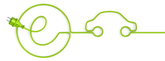 Green e-power plug bent in a car shape
