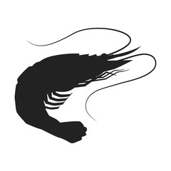 Shrimp icon, Shrimp silhouette isolated vector illustration.