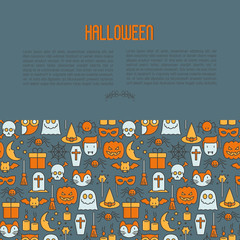 Cartoon Halloween concept with thin line icons: vampire, bat, pumpkin. Vector illustration for invitation card, party announcement.