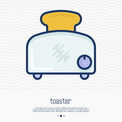 Toaster thin line icon. Simple vector illustration of home appliance.