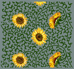 background with flowers and pattern
